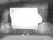 Iowa state outline map attached to concrete wall — Stock Photo