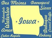 Iowa state map with cities name — Stock Photo