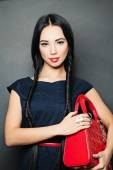 Stilysh Fashion Brunette with with long black Braids — Stock Photo