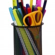 Markers and accessory in black basket — Stock Photo #63017883