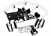 Pistols and playing cards — Stock Vector