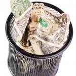 Dollars in a trash bin — Stock Photo #69715017
