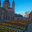 Medieval european church with flowerbed outside — Stock Photo #69715391