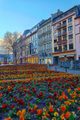 Flowerbed in european city center — Foto de Stock
