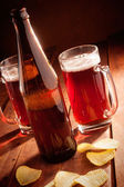 Beer mug and bottles — ストック写真