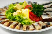 The set marinated mackerel  on  the plate — Stock Photo