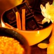Spa accessories for treatments at the spa salon with candles — Stock Video #64928899