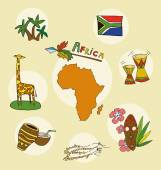 The set of  national profile of the africa geographic maps of the africa — Stock Vector