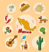 The set of  national profile of the geographic maps of the mexico — Stock Vector