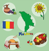 The set of  national profile of the geographic maps of the moldova — Stock Vector