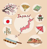 The set of  national profile of the geographic maps of the japan — Stock Vector