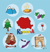 The set of  national profile of the geographic maps of the romania — Stock Vector