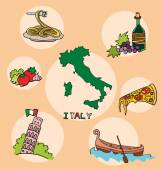 The set of  national profile of the geographic maps of the italy — Stock Vector