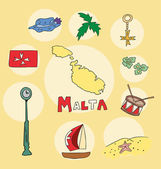 The set of  national profile of the geographic maps of the malta — Stock Vector