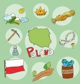 The set of  national profile of the geographic maps of the poland — Stock Vector