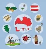 The set of  national profile of the geographic maps of the latvia — Stock Vector