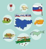 The set of  national profile of the geographic maps of the slovenia, slovakia — Stock Vector