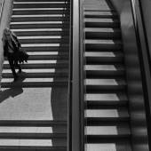 Woman metro stairs — Stock Photo