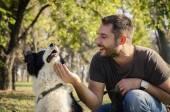 Man with his dog — Zdjęcie stockowe