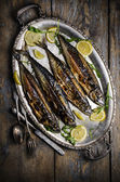 Mackerels on silver plate — Stock Photo