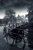 Amsterdam autumn night. Elements of this image furnished by NASA — Stock Photo