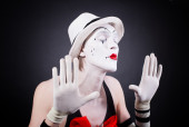 Portrait of theatrical mime  — Stock Photo