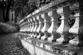 Old stone balustrade in the park  — Stock Photo