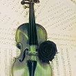 Old violin with musical notes and rose closeup — Stock Photo #70731141