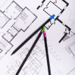 Plans for residential flats with pencil — Stock Photo #70731153