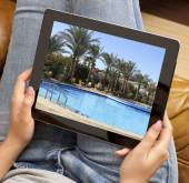 Resort photo on tablet — Stock Photo