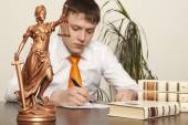 Justice statue and lawyer — Stock Photo