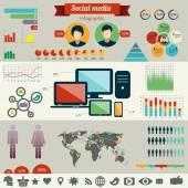 Social network infographics set — Stock Vector