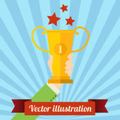 Human hand with prize — Stock Vector