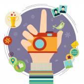 Human hand with photo camera — Stock Vector