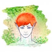 Redhead elf — Stock Vector