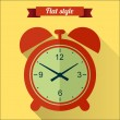 Red alarm clock flat icon with long shadow — Stock Vector #59225405