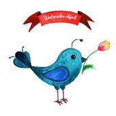 Blue bird and flovers — Stockvector
