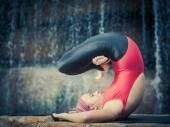 Pose with legs in Padmasana — Stock Photo