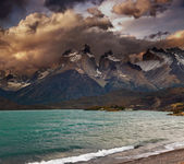 Sunset in Torres del Paine National Park — Stock Photo
