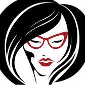 Portrait de femme à lunettes — Vecteur