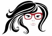 Woman in stylish red glasses  — Stock Vector