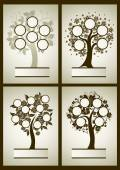 Vector set of  family tree designs — Stock Vector