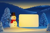 Happy snowman with blank poster — Stock Photo