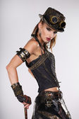Steampunk woman golf player — Foto de Stock