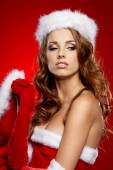 Christmas woman on red — Stock Photo