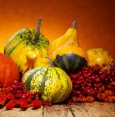 Decorative pumpkins on old wooden table — Foto Stock