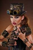Steampunk woman. Fantasy fashion — Stock Photo