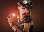 Steampunk woman. Fantasy fashion — Stockfoto
