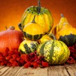 Pumpkins and squashes on wooden table — Stock Photo #54437041