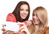 Girls making selfies at studio — 图库照片